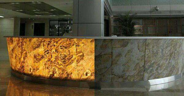 Ejemplo piedra flexible translúcida iluminada desde atrás